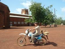 Kees on his motorbike in Ghana (2004)