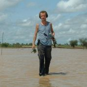 Walking in the water with video gear (Mali, 2003)