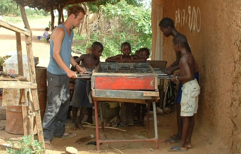 Playing table soccer in Mali (2003)